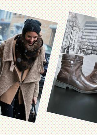 Зимние ботинки из натуральной кожи европейского бренда m&d коричневые, р. 381