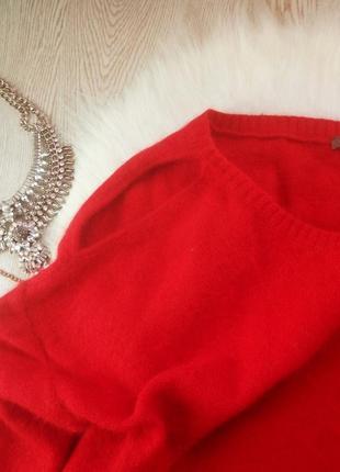 Красный вязанный теплый свитер оверсайз с вырезом на плече,ангорой и шерстью батал5