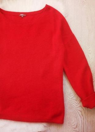 Красный вязанный теплый свитер оверсайз с вырезом на плече,ангорой и шерстью батал3