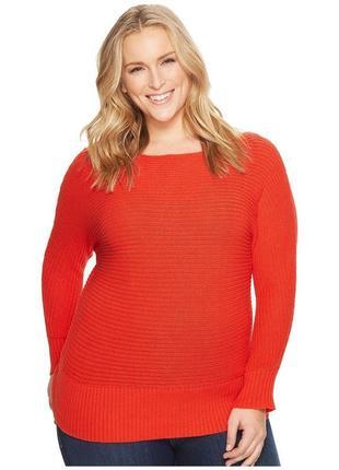 Красный вязанный теплый свитер оверсайз с вырезом на плече,ангорой и шерстью батал1