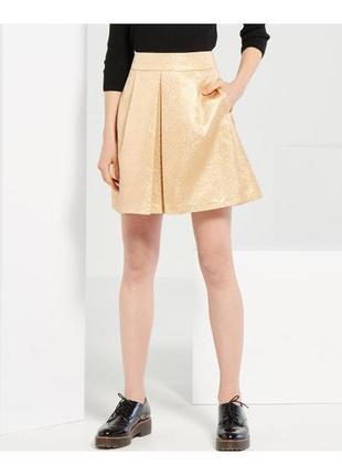 Золотистая юбка со складкой reserved2