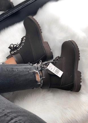 Темно-коричневые зимние ботинки унисекс timberland с мехом разные размеры в наличии3