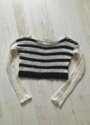 Очень тёплый стильный свитер, топ в полоску, пайетки2