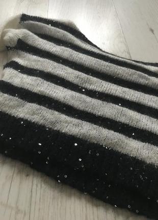 Очень тёплый стильный свитер, топ в полоску, пайетки5