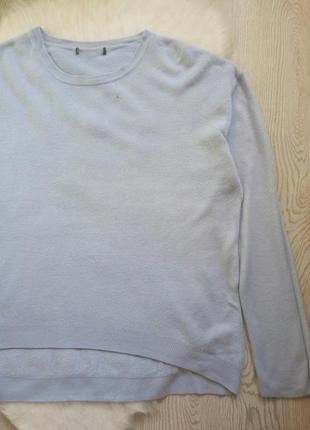 Теплый голубой свитер длинный вязанный кофта с рукавами батал большой размер3
