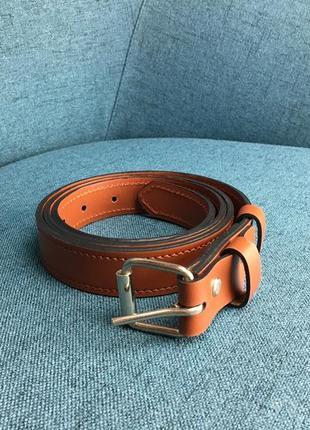 Кожаный ремень 2,5 см, ручная работа, шкіряний ремінь.1