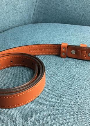 Кожаный ремень 2,5 см, ручная работа, шкіряний ремінь.3