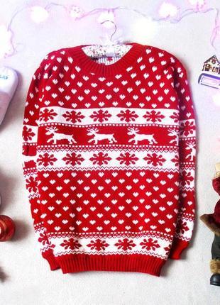 Новогодний,рождественский свитер с красивымы рисункоми, размер 40(12)1