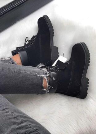 Черные женские зимние ботинки timberland с мехом разные размеры в наличии3