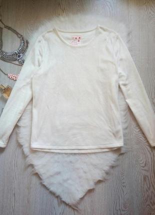 Мягенький белый плюшевый свитшот кофточка травка как пижама батал теплый большой3