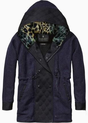 Зимнее полу-шерстяное пальто-парка от премиум бренда maison scotch1