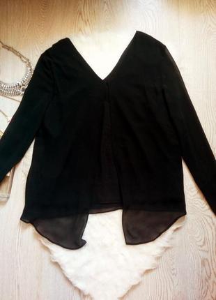 Черная блуза с длинным рукавом и цветочными нашивками батал большой размер туника4 фото