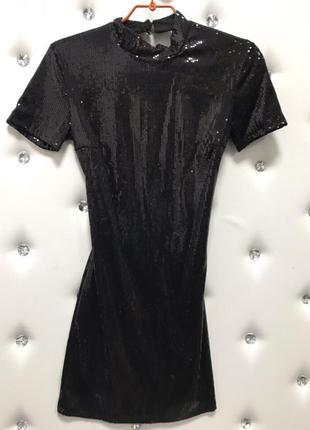 Платье паетка пайетка с вырезом на спине новогоднее вечернее