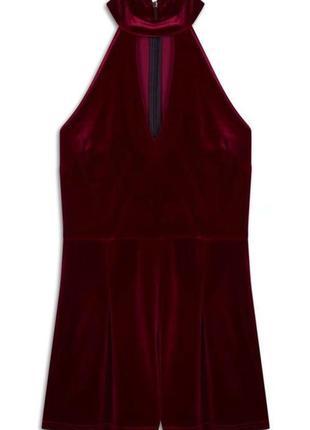 Бордовый велюровый бархатный комбинезон ромпер с чокером atmosphere2