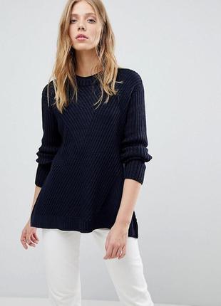 Тёплый свитер оверсайз в рубчик, свободный вязаный джемпер расклешенный