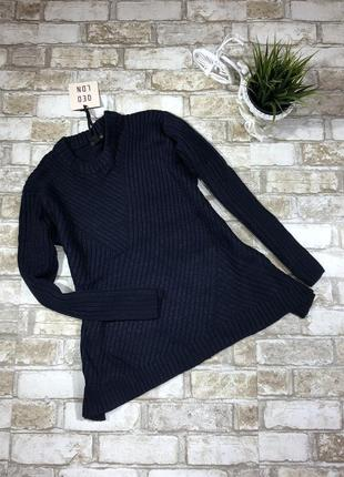 Тёплый свитер оверсайз в рубчик, свободный вязаный джемпер расклешенный4