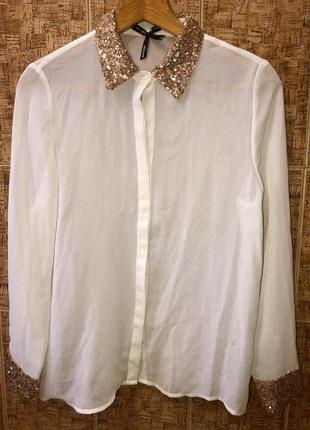 Нарядная белая блуза с паетками р. l,италия,в идеале1