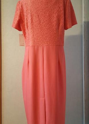 Нарядное платье коралового цвета2