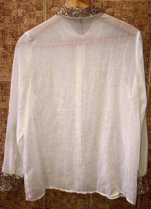 Нарядная белая блуза с паетками р. l,италия,в идеале2