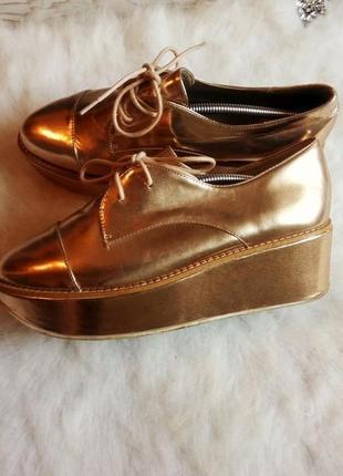 Золотые кожаные броги туфли на платформе шнуровка металлик хайтоп высокие кожа aldo4
