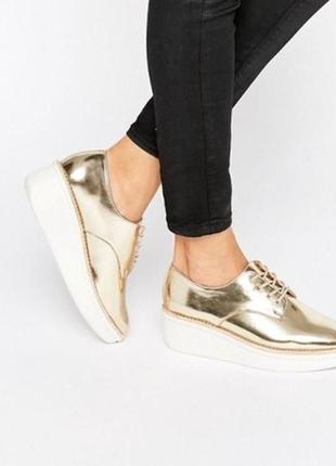 Золотые кожаные броги туфли на платформе шнуровка металлик хайтоп высокие кожа aldo2