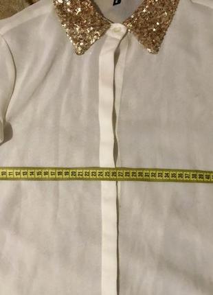 Нарядная белая блуза с паетками р. l,италия,в идеале4
