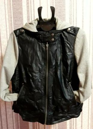 Куртка- бомбер с капюшоном( экокожа) большой размер xxxl. унисекс