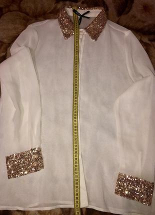 Нарядная белая блуза с паетками р. l,италия,в идеале5