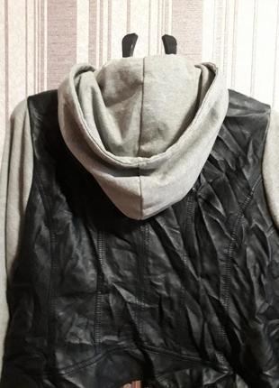 Куртка- бомбер с капюшоном( экокожа) большой размер xxxl. унисекс2