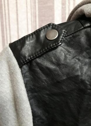 Куртка- бомбер с капюшоном( экокожа) большой размер xxxl. унисекс5