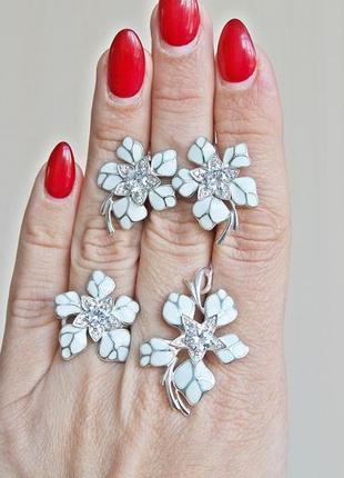 Серебряный набор н кокетка белый (кольцо 18) скидка 10%!1 фото