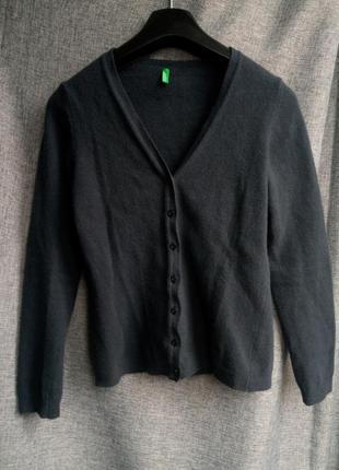 Шикарный базовый шерстяной кардиган,серый кардиган,теплый свитер,100% шерсть,benetton1