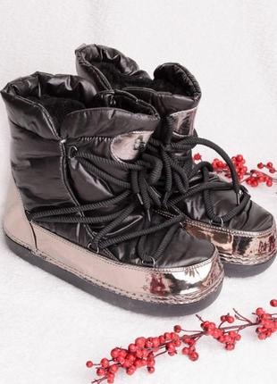 Угги чёрного цвета на шнуровке2 фото