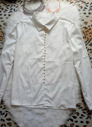 Белая рубашка блуза с пуговичками длинный рукав офисная турция3