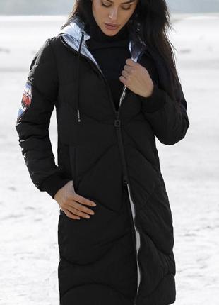 Пальто пуховик куртка  с нашивками спортивный теплый в стиле zara1