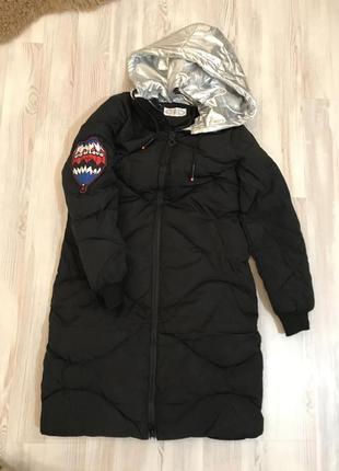 Пальто пуховик куртка  с нашивками спортивный теплый в стиле zara4