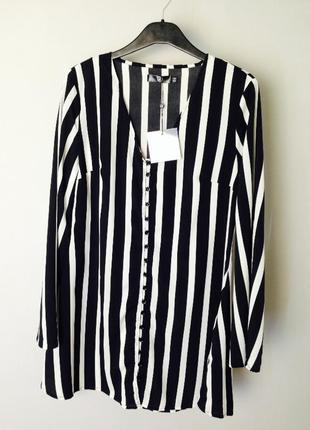 Cтильное свободное платье в вертикальную полоску с расклешенными рукавами missguided4 фото