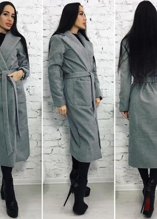 """Базовое женственное пальто-халат """"мокрый асфальт"""" m-l1"""