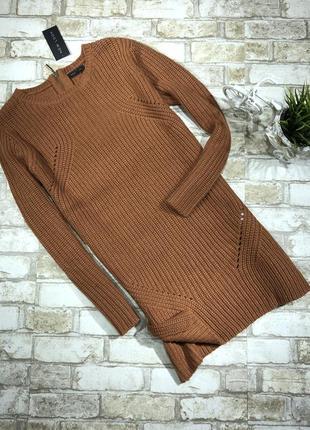 Актуальное платье туника вязаное тёплое, свитер длинный4