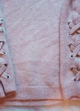 Пудровый свитер оверсайз завязки по бокам шнуровка кофта с вырезом вязаная беж нюд4