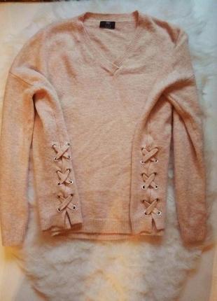 Пудровый свитер оверсайз завязки по бокам шнуровка кофта с вырезом вязаная беж нюд