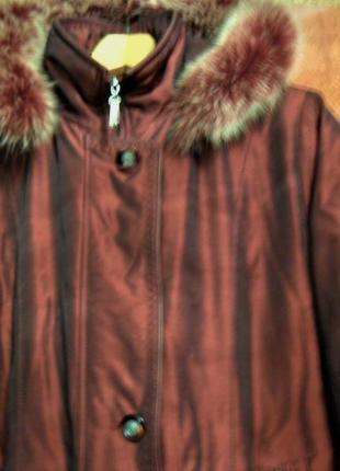 Роскошное зимнее пальто темно вишневого цвета р-р 50-524