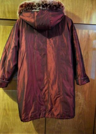Роскошное зимнее пальто темно вишневого цвета р-р 50-523
