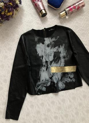 Zara кожаный топ с длинным рукавом s- размер1