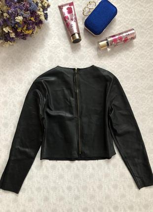 Zara кожаный топ с длинным рукавом s- размер3