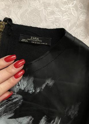 Zara кожаный топ с длинным рукавом s- размер2