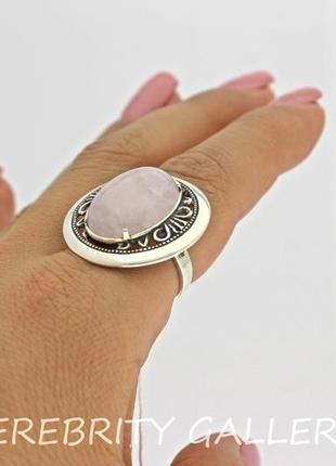 10% скидка - подписчикам! кольцо серебряное с розовым кварцем размер 18. h 1316 wpi 182