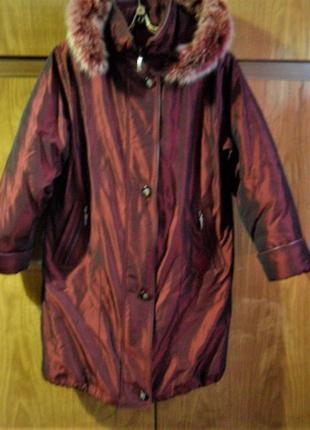 Роскошное зимнее пальто темно вишневого цвета р-р 50-521