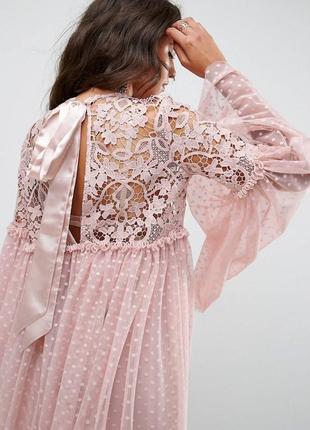 Шикарное пудровое платье с эффектными рукавами в горох хит 2018 asos3 фото