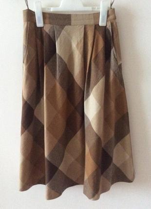 Модная тёплая  юбка в клетку швейцария шерсть1 фото